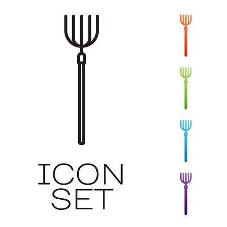 Black line Garden pitchfork icon isolated on white background. Garden fork sign. Tool for horticulture, agriculture, farming. Set icons colorful. Vector Illustration