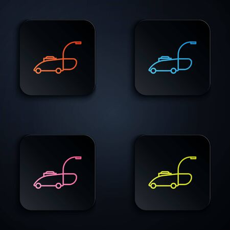 Color neon line Lawn mower icon isolated on black background. Lawn mower cutting grass. Set icons in colorful square buttons. Vector Illustration