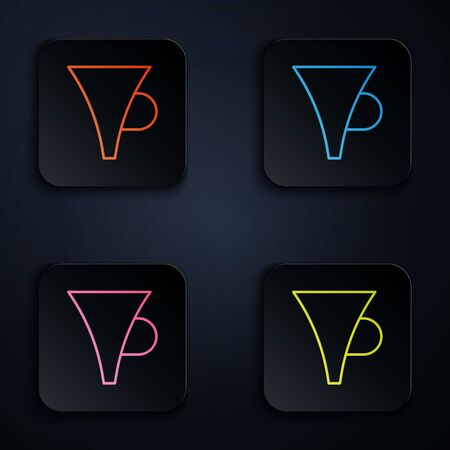 Color neon line Funnel or filter icon isolated on black background. Set icons in square buttons. Vector Illustration  イラスト・ベクター素材