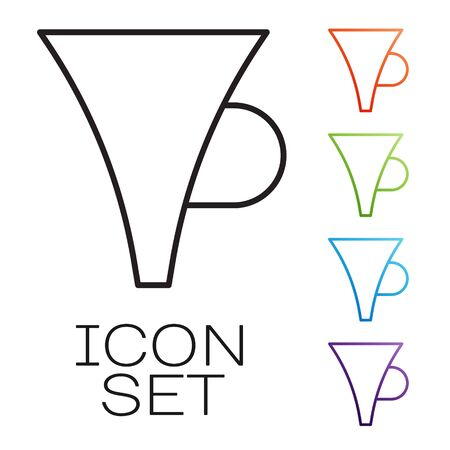 Black line Funnel or filter icon isolated on white background. Set icons colorful. Vector Illustration  イラスト・ベクター素材
