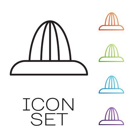 Black line Citrus fruit juicer icon isolated on white background. Set icons colorful. Vector Illustration