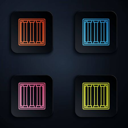 Color neon line Prison window icon isolated on black background. Set icons in square buttons. Vector Illustration