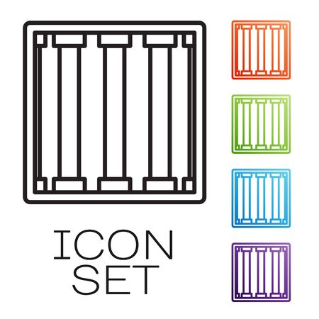 Black line Prison window icon isolated on white background. Set icons colorful. Vector Illustration
