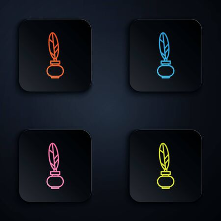 Color neon line Feather and inkwell icon isolated on black background. Set icons in square buttons. Vector Illustration