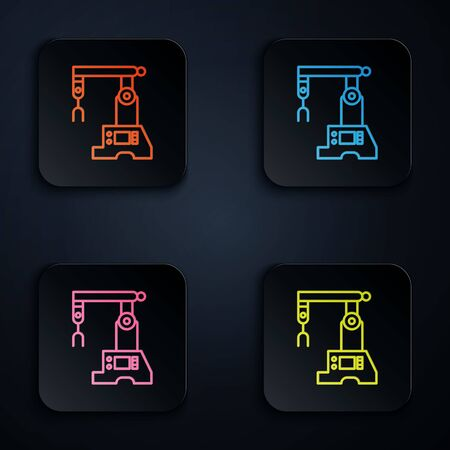 Color neon line Assembly line icon isolated on black background. Automatic production conveyor. Robotic industry concept. Set icons in square buttons. Vector Illustration
