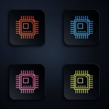 Color neon line Computer processor with microcircuits CPU icon isolated on black background. Chip or cpu with circuit board sign. Micro processor. Set icons in square buttons. Vector Illustration