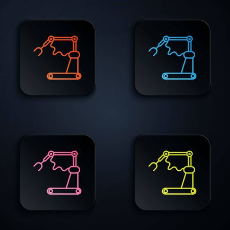 Color neon line Industrial machine robotic robot arm hand factory icon isolated on black background. Industrial robot manipulator. Set icons in square buttons. Vector Illustration Vettoriali