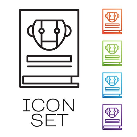 Black line User manual icon isolated on white background. User guide book. Instruction sign. Read before use. Set icons colorful. Vector Illustration