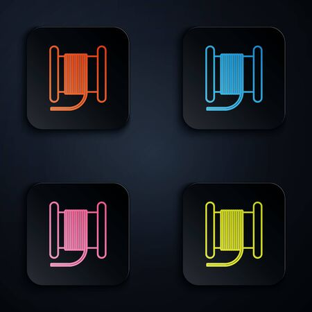 Color neon line Wire electric cable on a reel or drum icon isolated on black background. Set icons in square buttons. Vector Illustration
