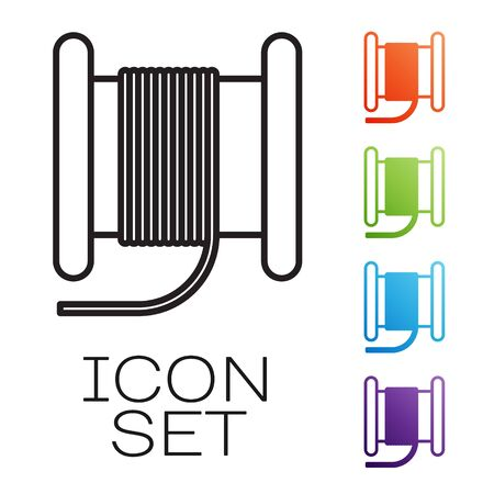 Black line Wire electric cable on a reel or drum icon isolated on white background. Set icons colorful. Vector Illustration