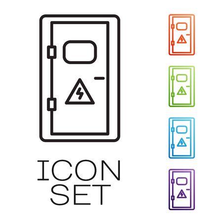 Czarna linia Szafka elektryczna ikona na białym tle. Zestaw ikon kolorowe. Ilustracja wektorowa