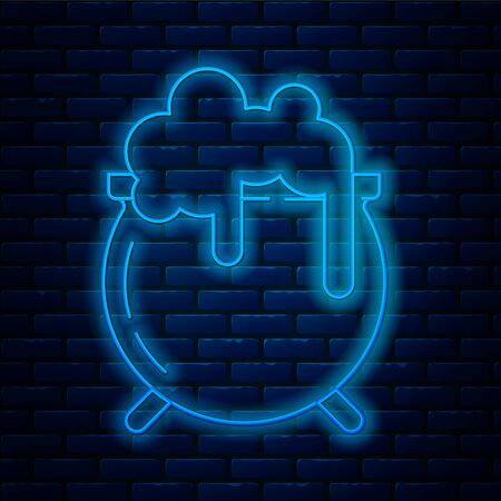 Glowing neon line Witch cauldron icon isolated on brick wall background. Happy Saint Patricks day.  Vector Illustration Ilustração