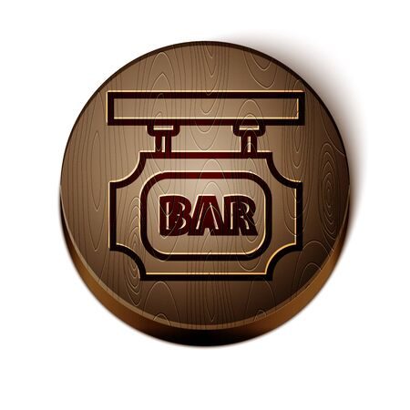 Brown line Street signboard with inscription Bar icon isolated on white background. Suitable for advertisements bar, cafe, pub, restaurant. Wooden circle button. Vector Illustration