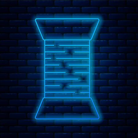 Glowing neon line Sewing thread on spool icon isolated on brick wall background. Yarn spool. Thread bobbin. Vector Illustration Stock Illustratie