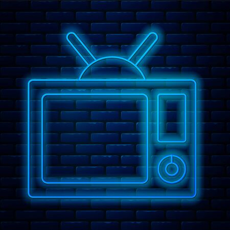 Glowing neon line Tv icon isolated on brick wall background. Television sign. Vector Illustration
