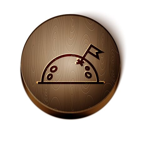 Brown line Planet with flag icon isolated on white background. Wooden circle button. Vector Illustration
