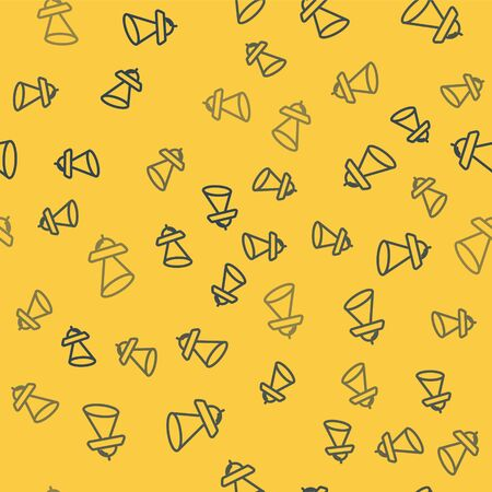 Blue line UFO flying spaceship icon isolated seamless pattern on yellow background. Flying saucer. Alien space ship. Futuristic unknown flying object. Vector Illustration
