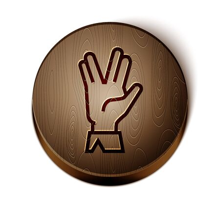 Brown line Vulcan salute icon isolated on white background. Hand with vulcan greet. Spock symbol. Wooden circle button. Vector Illustration