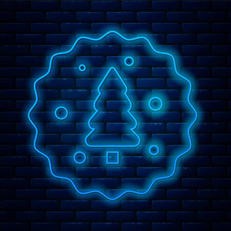 Glowing neon line Cookie or biscuit with chocolate icon isolated on brick wall background. Vector Illustration Vectores