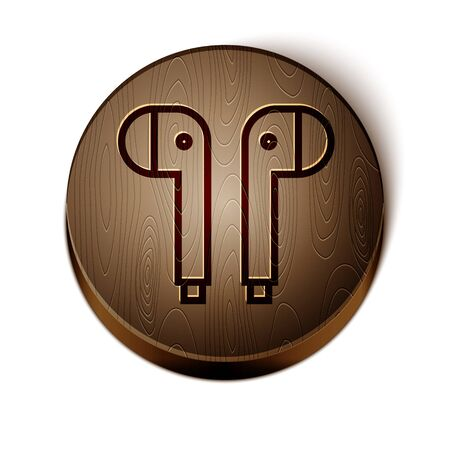 Brown line Air headphones icon icon isolated on white background. Holder wireless in case earphones garniture electronic gadget. Wooden circle button. Vector Illustration Çizim