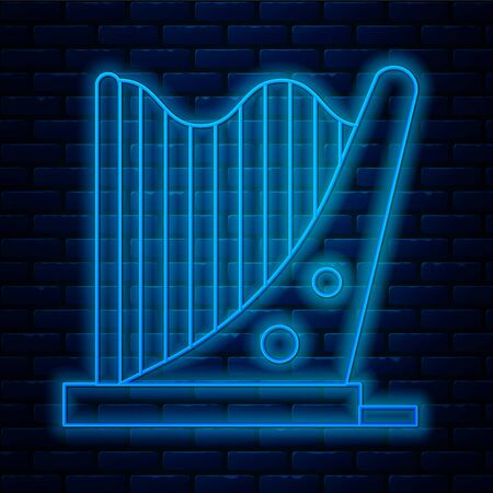 Glowing neon line Harp icon isolated on brick wall background. Classical music instrument, orhestra string acoustic element. Vector Illustration