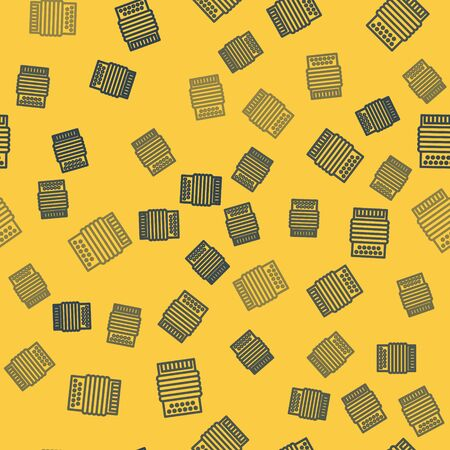 Blue line Musical instrument accordion icon isolated seamless pattern on yellow background. Classical bayan, harmonic. Vector Illustration