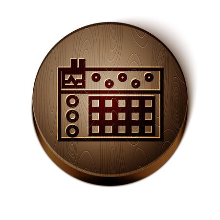 Brown line Drum machine icon isolated on white background. Musical equipment. Wooden circle button. Vector Illustration