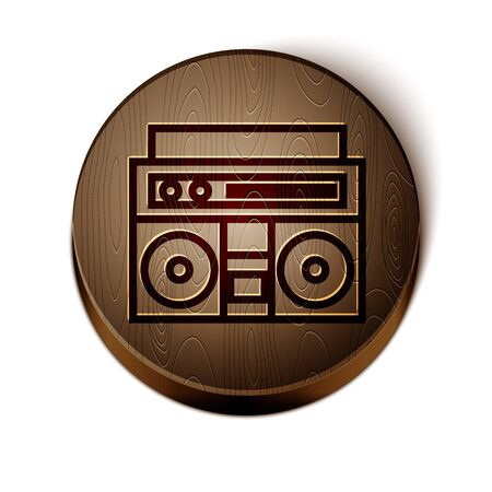 Brown line Home stereo with two speakers icon isolated on white background. Music system. Wooden circle button. Vector Illustration Иллюстрация