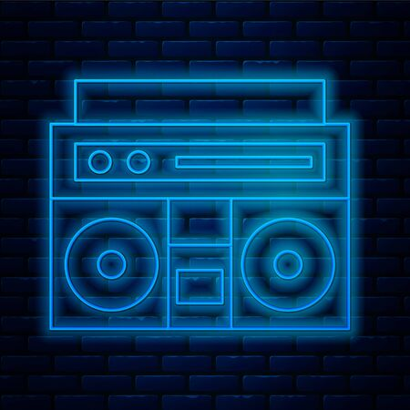 Glowing neon line Home stereo with two speakers icon isolated on brick wall background. Music system. Vector Illustration