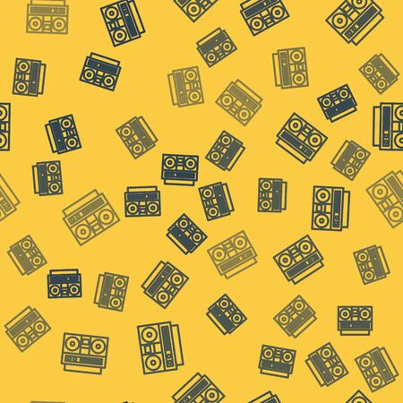 Blue line Home stereo with two speakers icon isolated seamless pattern on yellow background. Music system. Vector Illustration
