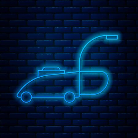 Glowing neon line Lawn mower icon isolated on brick wall background. Lawn mower cutting grass. Vector Illustration