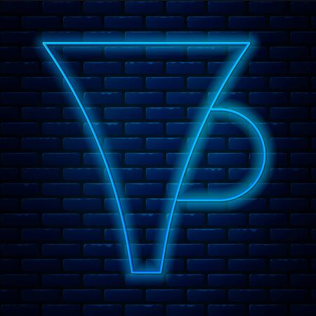 Glowing neon line Funnel or filter icon isolated on brick wall background. Vector Illustration