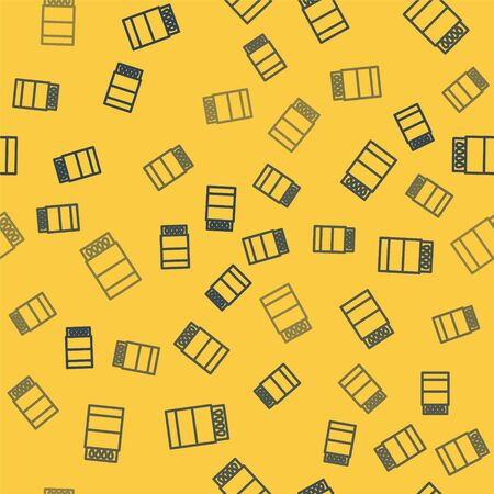 Blue line Open matchbox and matches icon isolated seamless pattern on yellow background. Vector Illustration