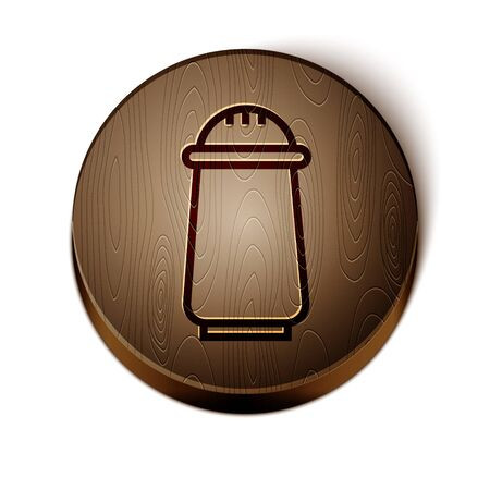 Brown line Salt and pepper icon isolated on white background. Cooking spices. Wooden circle button. Vector Illustration