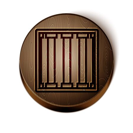 Brown line Prison icon isolated on white background. Wooden circle button. Vector Illustration Illustration