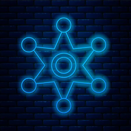 Glowing neon line Hexagram sheriff icon isolated on brick wall background. Police badge icon. Vector Illustration Illusztráció