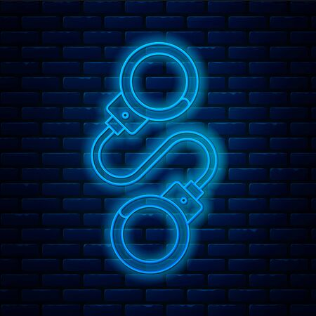 Glowing neon line Handcuffs icon isolated on brick wall background. Vector Illustration Иллюстрация