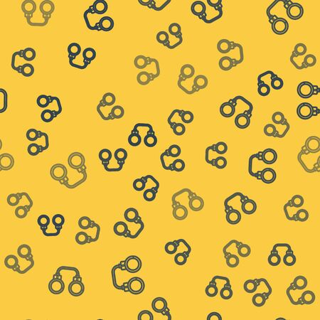 Blue line Handcuffs icon isolated seamless pattern on yellow background. Vector Illustration