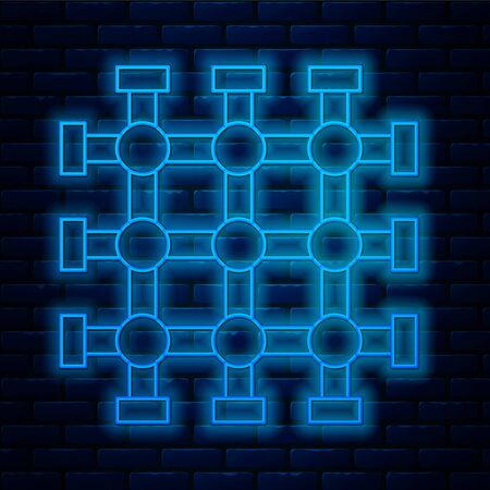Glowing neon line Prison window icon isolated on brick wall background. Vector Illustration