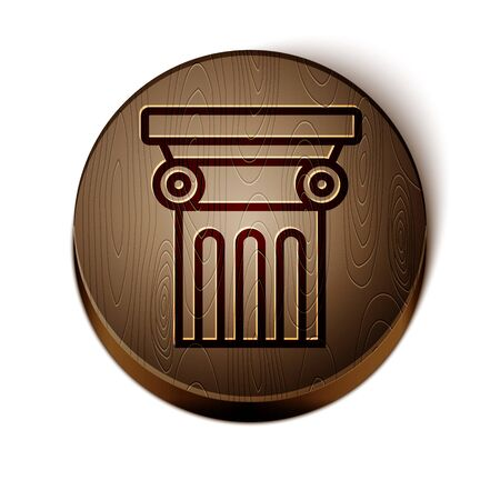 Brown line Law pillar icon isolated on white background. Wooden circle button. Vector Illustration Archivio Fotografico - 136792043