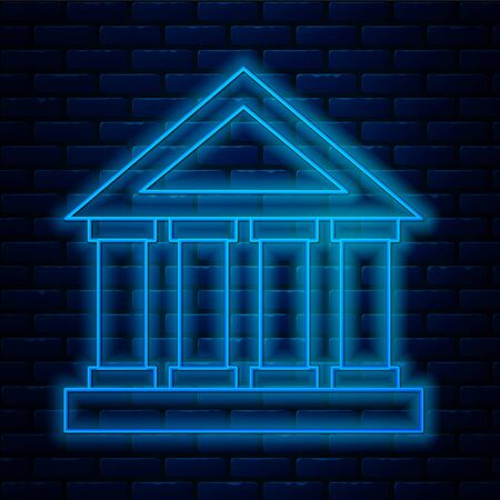 Glowing neon line Courthouse building icon isolated on brick wall background. Building bank or museum. Vector Illustration Archivio Fotografico - 136792065