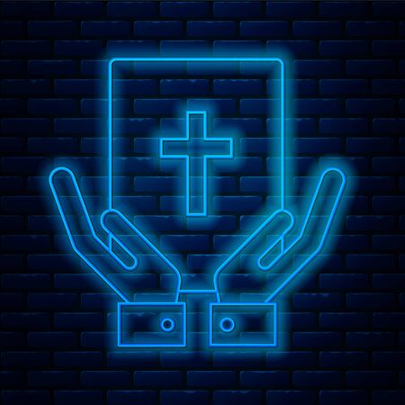 Glowing neon line Oath on the Holy Bible icon isolated on brick wall background. The procedure in court. Truth and truth. Promise before god. Vector Illustration