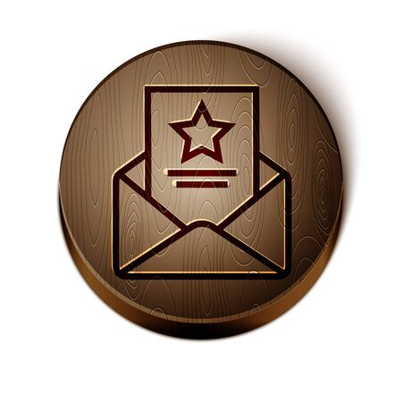 Brown line The arrest warrant icon isolated on white background. Police badge with document. Warrant, police report, subpoena. Justice concept. Wooden circle button. Vector Illustration Illustration