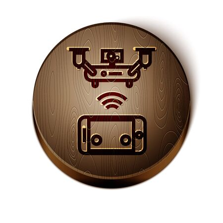 Brown line Remote aerial drone with a camera taking photography or video recording icon isolated on white background. Wooden circle button. Vector Illustration