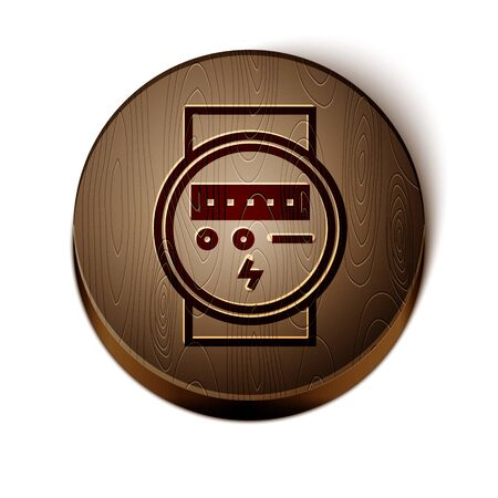 Brown line Electric meter icon isolated on white background. Wooden circle button. Vector Illustration