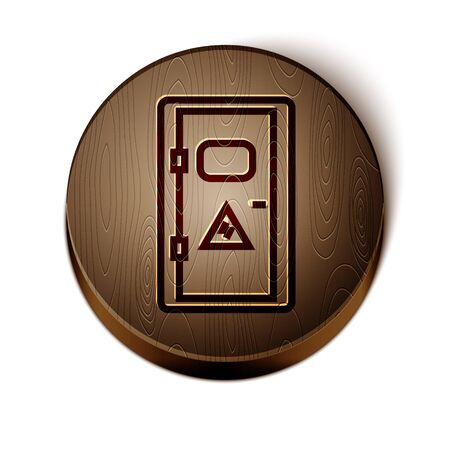 Brown line Electrical cabinet icon isolated on white background. Wooden circle button. Vector Illustration
