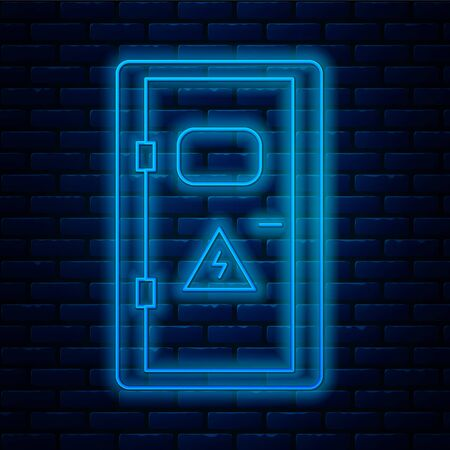 Glowing neon line Electrical cabinet icon isolated on brick wall background. Vector Illustration Vectores