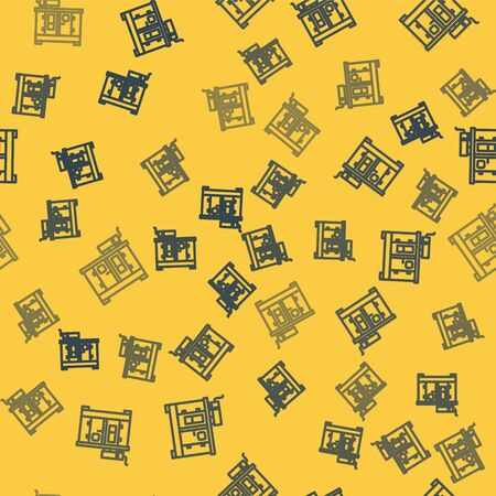 Blue line Diesel power generator icon isolated seamless pattern on yellow background. Industrial and home immovable power generator. Vector Illustration Illustration