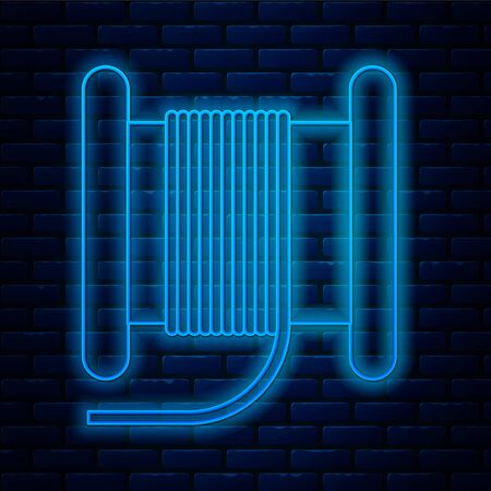 Glowing neon line Wire electric cable on a reel or drum icon isolated on brick wall background. Vector Illustration