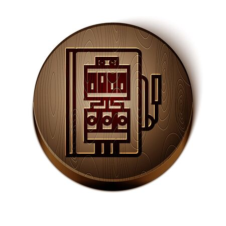 Brown line Electrical panel icon isolated on white background. Wooden circle button. Vector Illustration